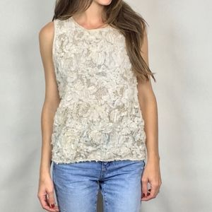 (MAX STUDIO) Shimmer Floral Textured Blouse